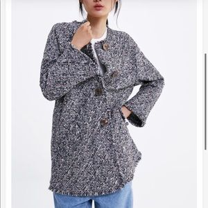 Zara Buttoned Tweed Coat Jacket